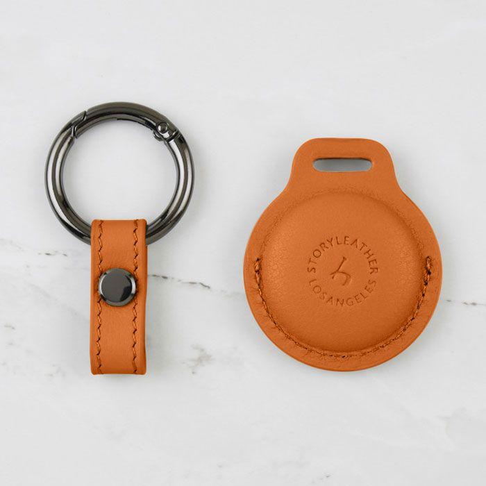 AirTag Leather Keychain - Pumpkin Orange