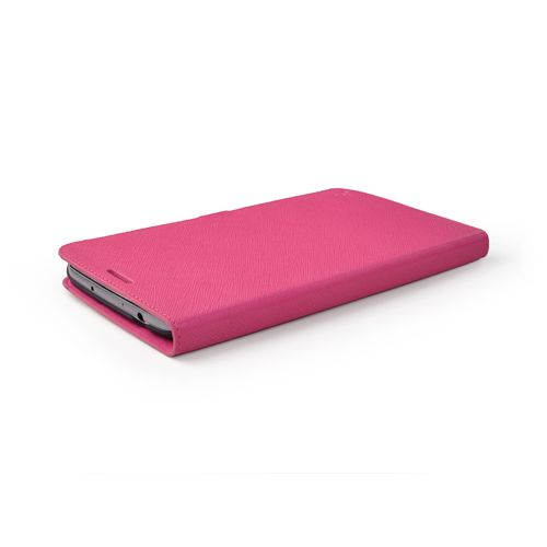 Pink Cross Pattern Premium Genuine Leather Side Flip Leather Wallet Case for Samsung Galaxy Mega 6.3
