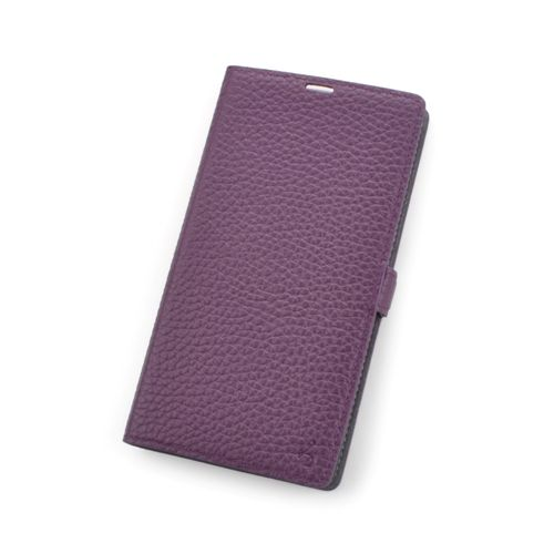 Purple Premium Genuine Leather Side Flip Leather Wallet Case for Sony Xperia Z1