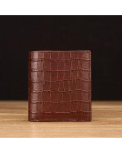 Coffee Crocodile Embossed Leather