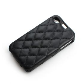 Black Apple iPhone 4 / 4S Hard Shell Down-Fold Flip Quilt Pattern Leather Case
