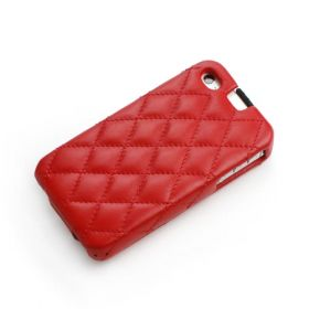 Red Apple iPhone 4 / 4S Hard Shell Down-Fold Flip Quilt Pattern Leather Case