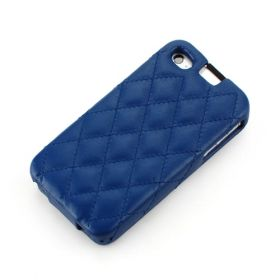 Blue Apple iPhone 4 / 4S Hard Shell Down-Fold Flip Quilt Pattern Leather Case