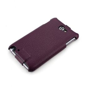 Violet Samsung Galaxy Note Hard Shell PDA-Style Down-Fold FLIP Leather Case