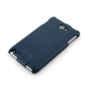 Royal Blue Samsung Galaxy Note Hard Shell PDA-Style Down-Fold FLIP Leather Case