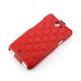 Red HTC ONE-X Hard Shell Down-Fold Flip Quilt Pattern Leather Case