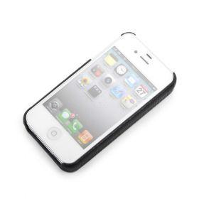 Black Apple iPhone 4/4S Premium Leather Back Cover