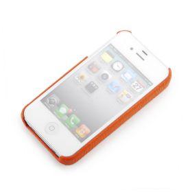 Orange Apple iPhone 4/4S Premium Leather Back Cover