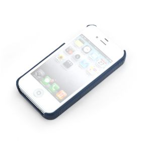 Navy Blue Apple iPhone 4/4S Premium Leather Back Cover