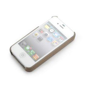 Khaki Grey Apple iPhone 4/4S Premium Leather Back Cover