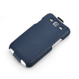 Blue Samsung Galaxy S3 FLIP Down-Fold Premium Leather Case