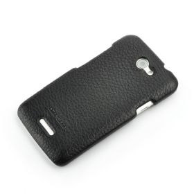 Black HTC ONE-X Premium Leather Back Cover