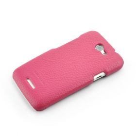 Pink HTC ONE-X Premium Leather Back Cover