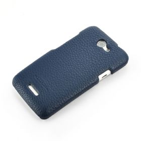 Blue HTC ONE-X Premium Leather Back Cover