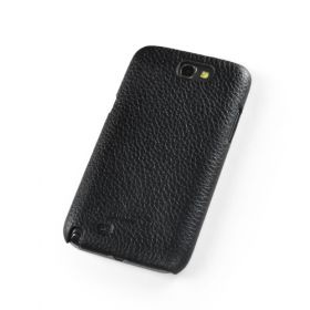 Black Premium Leather Back Cover for Samsung Galaxy Note 2