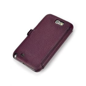 Purple Premium Leather Side-Flip Leather Case for Samsung Galaxy Note 2