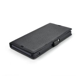 Black Genuine Leather Side Flip Leather Wallet Case for Sony Xperia Z