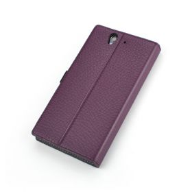 Purple Premium Leather Side Flip Leather Wallet Case for Sony Xperia Z