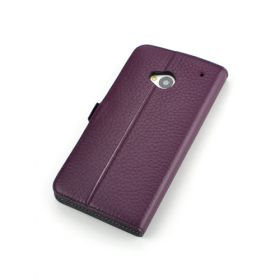 Purple Premium Leather Side Flip Leather Wallet Case for New HTC ONE