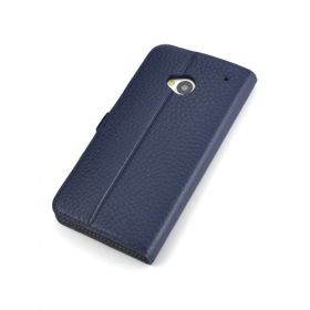 Blue Premium Leather Side Flip Leather Wallet Case for New HTC ONE