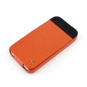 Orange Apple iPhone 4 / 4S Hard Shell PDA-Style Down-Fold Flip Leather Case