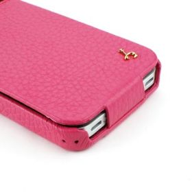Pink Apple iPhone 4 / 4S Hard Shell PDA-Style Down-Fold Flip Leather Case