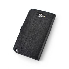 Black Premium Genuine Leather Side Flip Leather Wallet Case for Samsung Galaxy Note 2