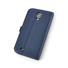 Blue Premium Genuine Leather Side Flip Leather Wallet Case for Samsung Galaxy S4