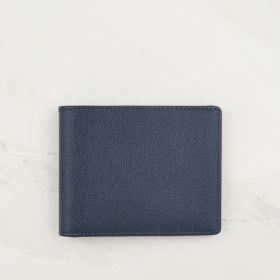 Navy Blue Cross Grain Leather