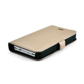Custom Made Premium Genuine Leather Side Flip Leather Wallet Case for Apple iPhone 4 / 4S