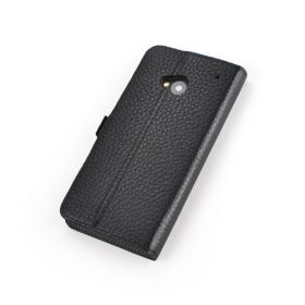Black Premium Leather Side Flip Leather Wallet Case for New HTC ONE