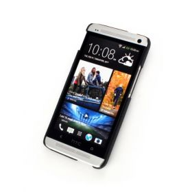 Black Genuine Leather Back Cover for HTC One