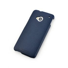 Blue Genuine Leather Back Cover for HTC One