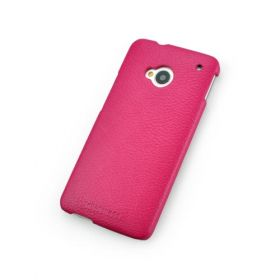 Pink Genuine Leather Back Cover for HTC One