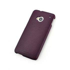 Purple Genuine Leather Back Cover for HTC One