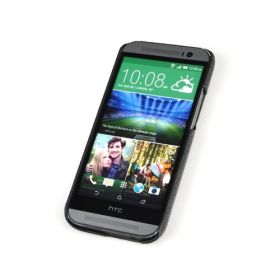 Black HTC One M8 Premium Leather Back Cover