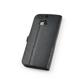 Black Premium Genuine Leather Side Flip Leather Wallet Case for HTC One M8