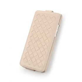 Custom Down Flip Woven Leather Case for HTC One Mini