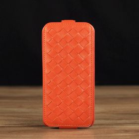 Down Flip Woven Leather Case
