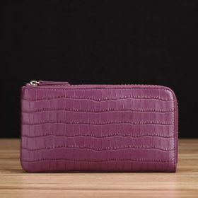 Purple Crocodile Embossed Leather