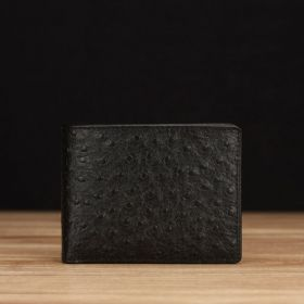 Black Ostrich Embossed Leather
