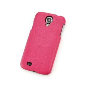 Pink Genuine Leather Back Cover for Samsung Galaxy S4