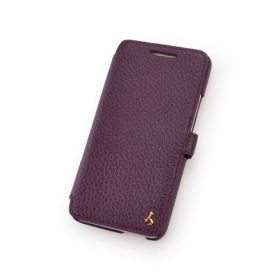Purple Premium Leather Book Style Leather Case for HTC One