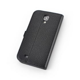 Black Premium Genuine Leather Side Flip Leather Wallet Case for Samsung Galaxy S4