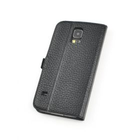 Black Premium Genuine Leather Side Flip Leather Wallet Case for Samsung Galaxy S5