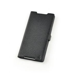 Black Premium Genuine Leather Side Flip Leather Wallet Case for Sony Xperia Z2
