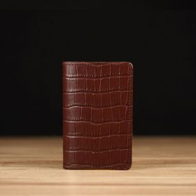 Coffee Crocodile Embossed Leather