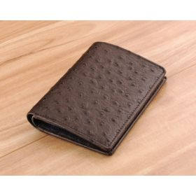 Coffee Ostrich Embossed Leather