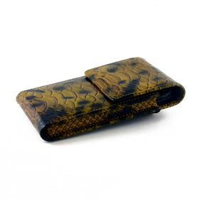 Montecito Sandy Brown Snake Pattern Vertical Leather Phone Holster Case for Apple iPhone 5 - LIMITED RUN