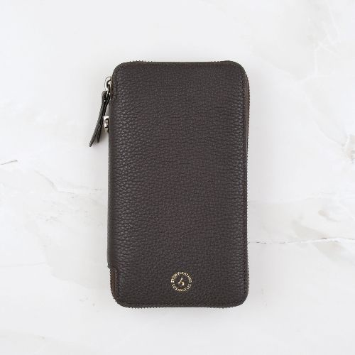 Coffee Pebble Grain Leather